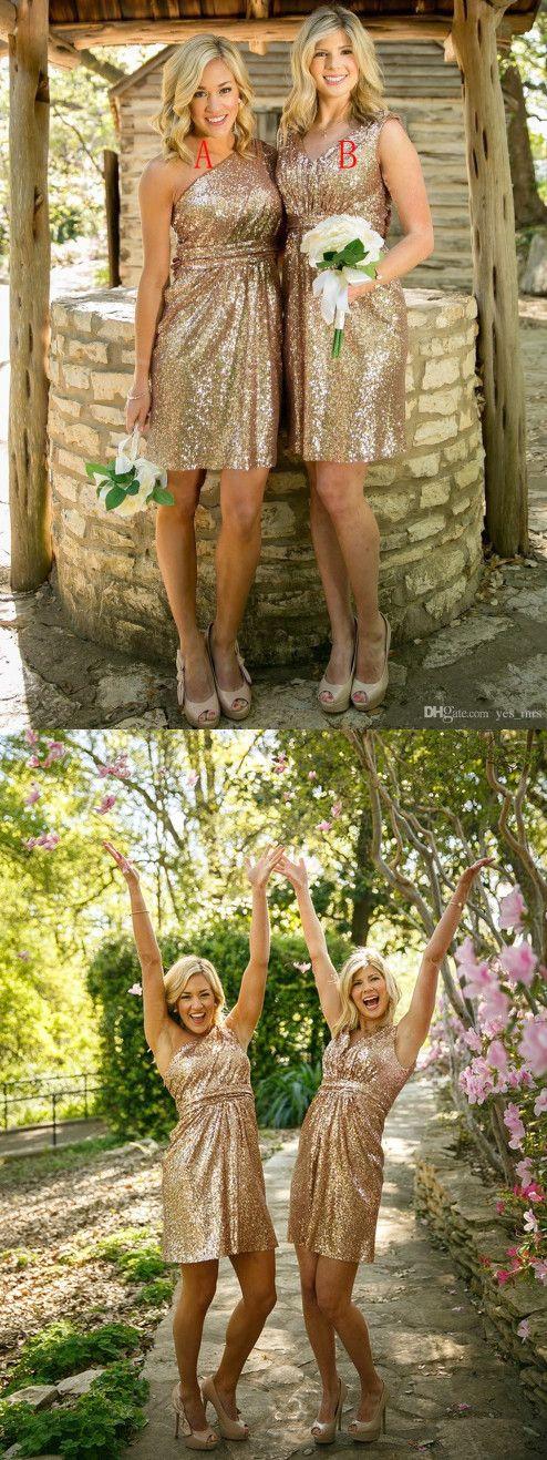 short bridesmaid dresses, 2016 bridesmaid dresses, gols sequins bridesmaid…