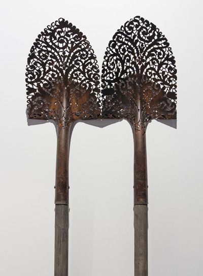 Cal Lane - Two plasma-cut shovels, Collection of Art Mûr, Courtesy of Winnipeg Art Gallery