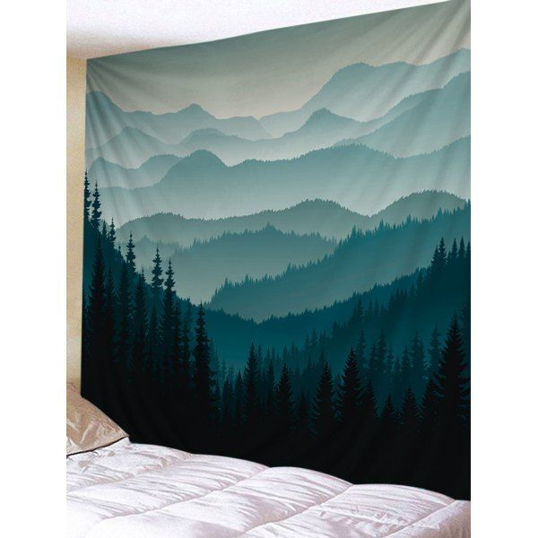 Mountain Forest Print Tapestry Wall Hanging Decor Dark Forest Green W91 Inch L71 Inch Decor Forest Hanging Mou Wanddekoration Wandteppich Bildwirkerei