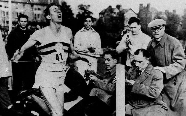 Roger Bannister completes the first four-minute mile
