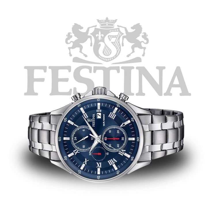 Festina F6853/3 Timeless Sport-Chronograph in Silber / Blau mit Markenuhrwerk aus Japan  #festina #chrono #chronograph #watch #style #menstyle #swatch #luxury