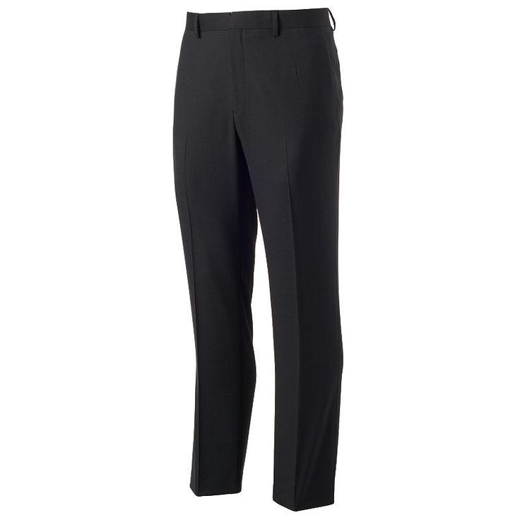 Men's Apt. 9 Slim-Fit Sharkskin Stretch Dress Pants, Size: 30X30, Black