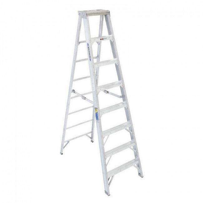 Werner 8 Aluminium Twin Step Ladder 150kg T408az Products In 2019 Ladder Above Ground Pool Side Plates