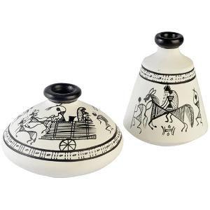 ExclusiveLane Terracotta Warli Hand Painted Pots White Set Of 2