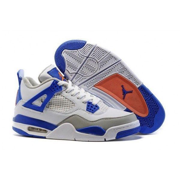 mens authentic air jordan 4 white hyper orange deep royal blue wolf grey knicks basketball shoes