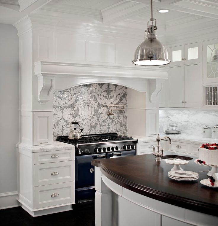Mosaic tile backsplash kitchen traditional with coffered ceiling white marble