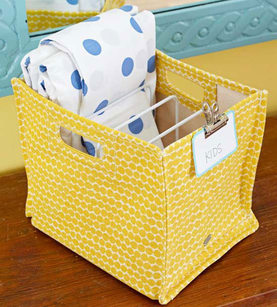 Storage Smarts - Sort sheets for each bedroom into designated bins. That way, finding the right linens for a specific room is a snap. Place a coated metal pan rack inside the bin to separate sets to make it easy to grab all the pieces when it's time to change the sheets.