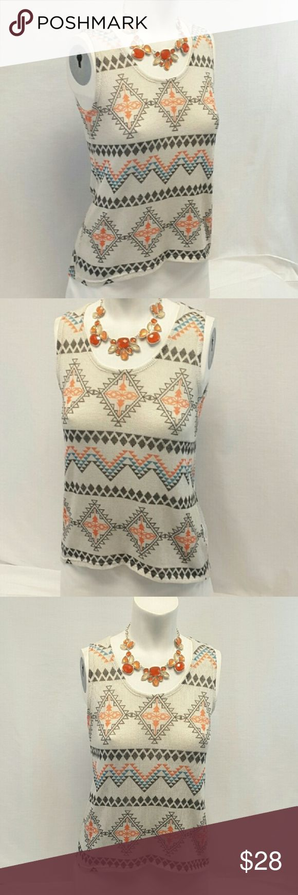 """BLU PLANET Hi-Lo Aztec Top, size Large BLU PLANET Hi-Lo Aztec Top, size Large See Measurements, sheer open weave soft stretchy material, machine washable, 95% polyester 5% spandex, approximate measurements: 22? front 27"""" back length shoulder to hem, 19"""" bust laying flat. ADD TO A BUNDLE! 30% Automatically Discounted on all Bundles! Blu Planet Tops Tank Tops"""