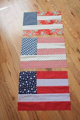 From Diary of a Quilter - a quilt blog: Flag Quilt Blocks. What a great way to use of fat quarters or use scraps from the fabric stash.