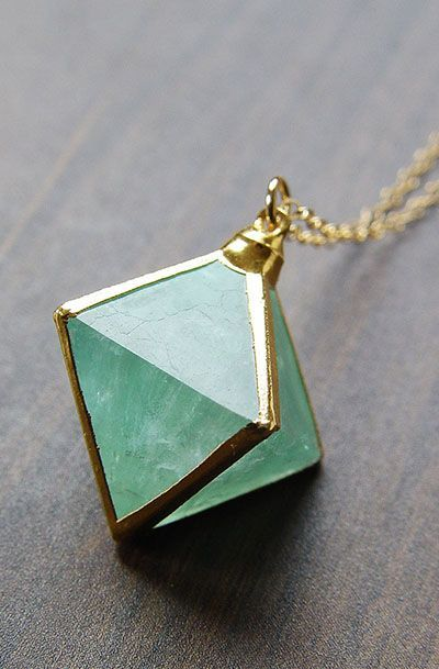 Green Fluorite Pyramid Gold Necklace - OOAK