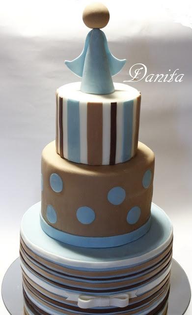 Torta prima comunione righe e pois http://leleccorniedidanita.blogspot.it/