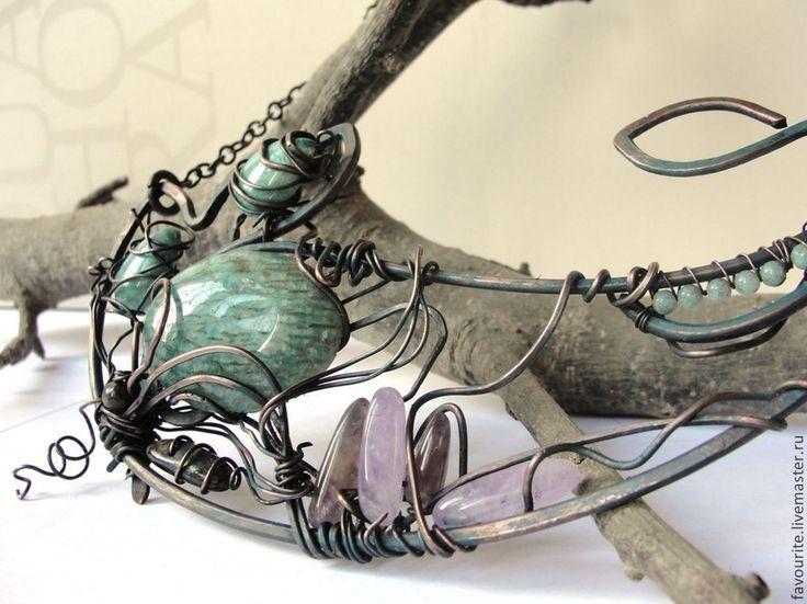 """Купить Ожерелье-чокер медное """"Веста"""" - мятный, колье ручной работы, колье медное"""