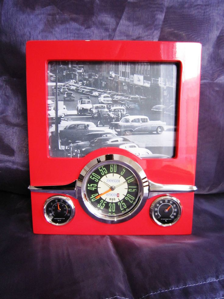 Retro Weather Clock with Frame in Red