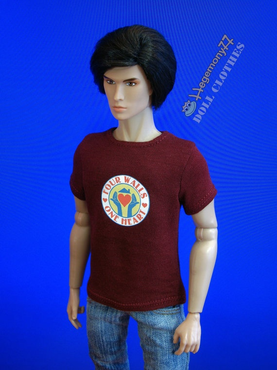 Custom order 1/6 scale Dexter Trinity Killer inspired Four Walls One Heart T-shirt without velcro or other closure