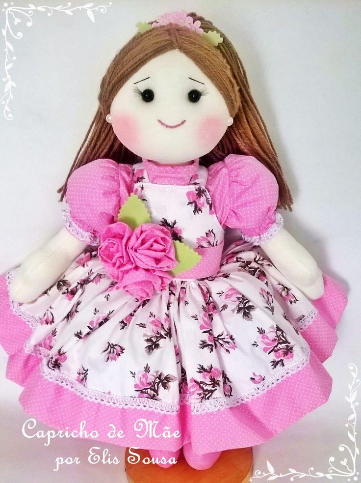 Boneca Floral medindo 40 cm com roupas removível, ideal para decoração de quarto ou festa. <br>Obs: ( valor corresponde a uma boneca, verificar antes a padronagem dos tecidos)