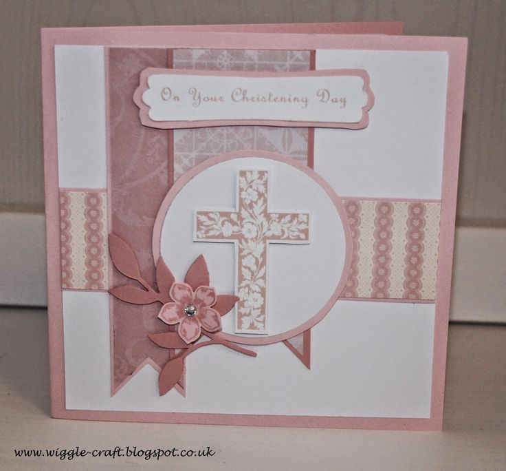 Christening card for a little girl using Crosses of Hope, Petite Petals, Little Leaves Sizzlits, Pink Pirouette and Blushing Bride.