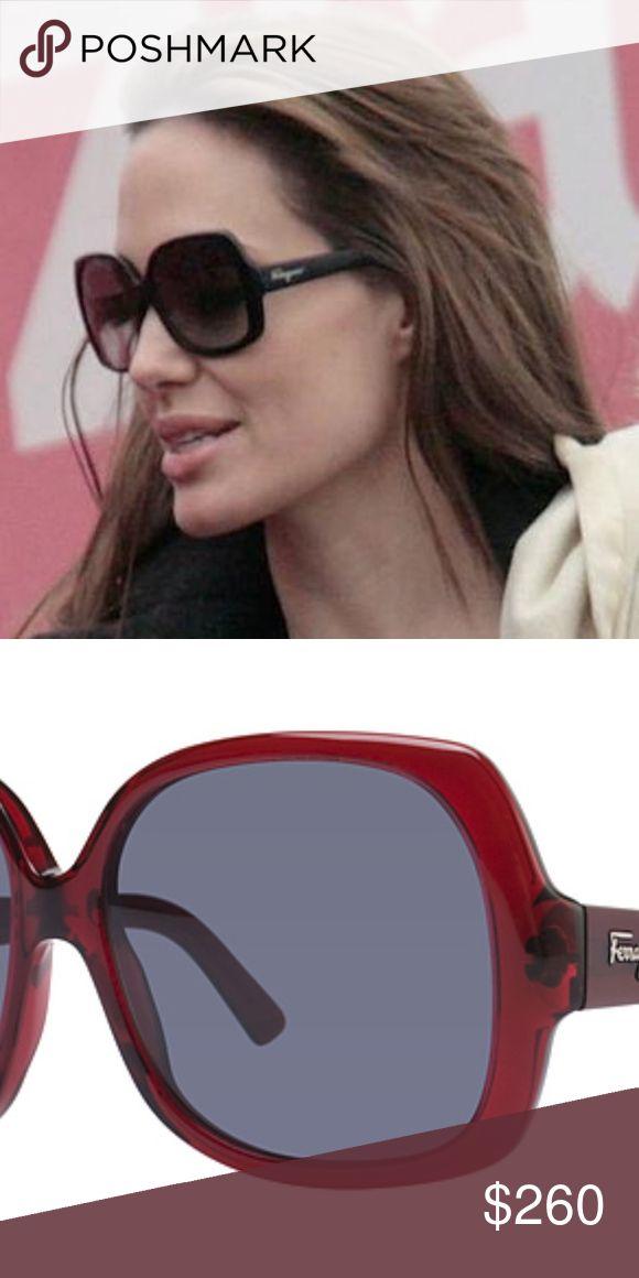 NEW FERREGAMO SUNGLASSES FERREGAMO 2166 IN RUBY RED WITH GREY LENSES WORN BY ANGELINA JOLIE. NO TRADES OR CASHIER CHECKS TAKEN Ferragamo Accessories Glasses