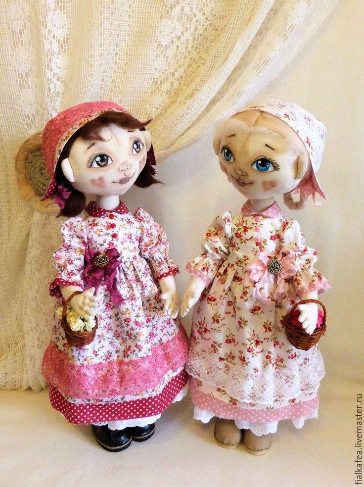 Купить текстильные куклы Розочка и Беляночка, авторские - розовый, белый, текстильная кукла, текстильная игрушка