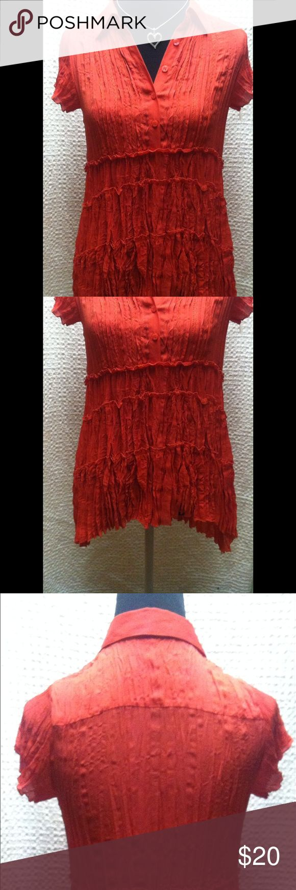 1D: NWOT NY COLLECTION ORANGE BLOUSE Orange collared blouse, ruffles going down the back and front. Great formal or casual wear! NY Collection Tops Button Down Shirts
