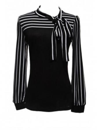 Zanzea Lantern Sleeve Striped Blouse