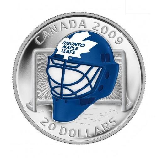Canada 20 Dollars Silver Coin 2009 Toronto Maple Leafs - NHL Team Goalie Masks