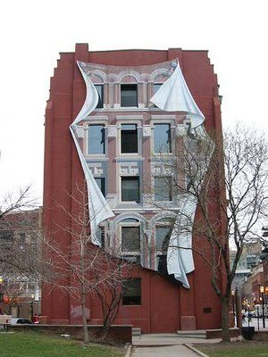 An optical illusion building in Toronto.