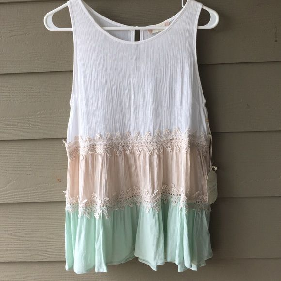 Altard States Neapolitan Mint Top  Perfect for spring!! Mint, beige and white!! With lace in between each color! Open for trades or make an offer :) NEVER BEEN WORN AND HAS TAGS Altar'd State Tops Blouses
