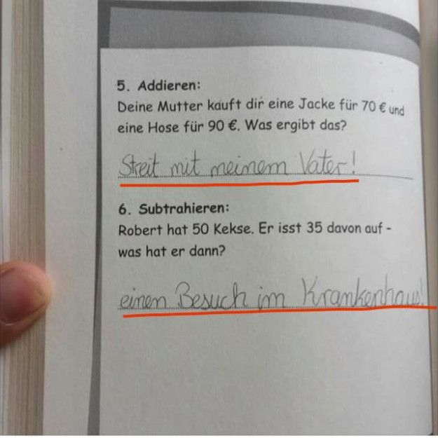 Der Schüler hier, der versuchte logisch an die Sache ranzugehen. | 27 Schüler, die bei dieser Klassenarbeit nicht ihren besten Tag hatten