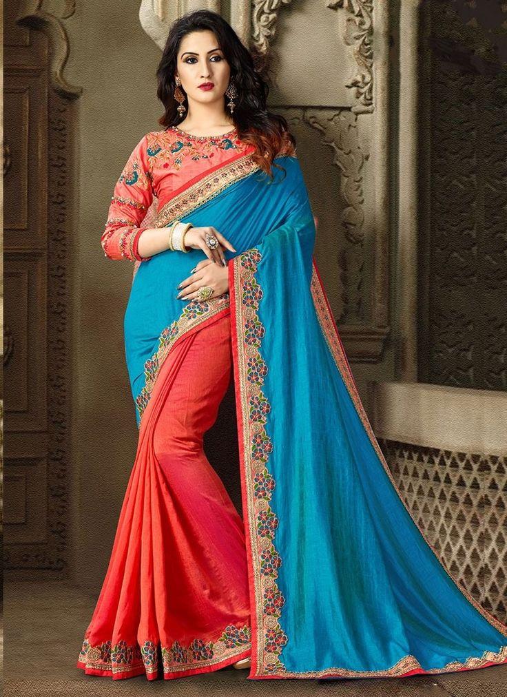 Shop Online Blue Orange Satin Silk #DesignerSarees @Chennaistore.com