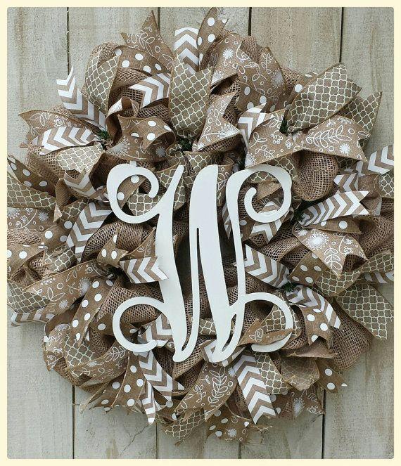 Check out this item in my Etsy shop https://www.etsy.com/listing/226403186/monogram-burlap-mesh-wreath-monogram