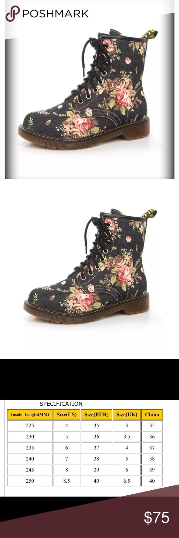 SEXY FLORAL LACE UP HIGHTOPS Lace up high top boots! Pretty floral on a black background! Plaid lining! PU leather and skid resistant sole These are really cute! New without a box! Please check size before purchasing  Shoes Ankle Boots & Booties