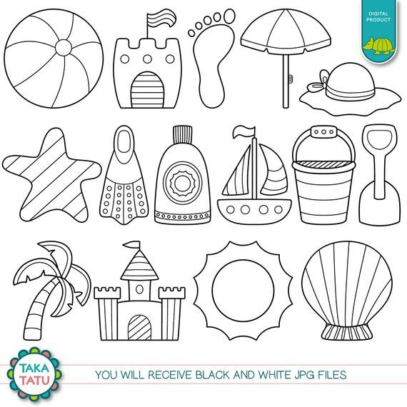 Summer Time Digital Stamp Pack Black And White Clipart Summer Clipart Vacation Beach Clipart Digital Stamps Clip Art Black And White Beach Clipart