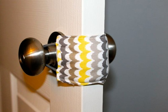 just ordered for tinsleys room! great idea! Door Jammer in Grey Waves FREE SHIPPING by rosefieldsmarket, $8.00