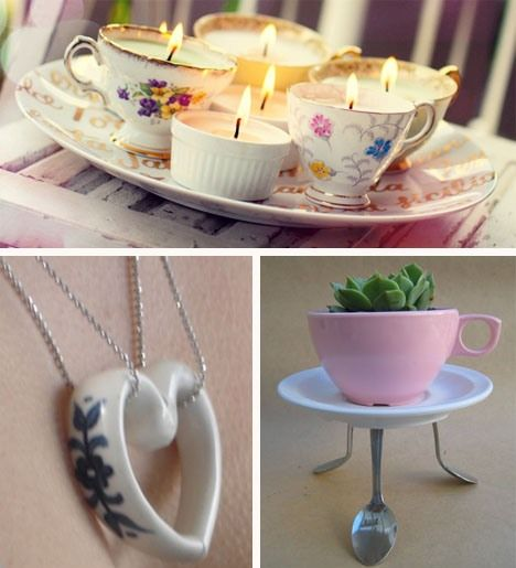 27 ideas for repurposing/recycling/reusing china - some great ideas..love the handle heart the best tho x