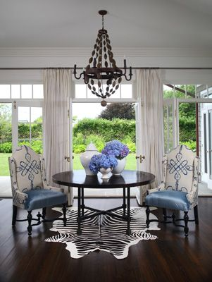 Robyn Karp Interiors - Gallery: Decor, Blue Rooms, Dining Rooms, Ideas, Chairs, French Doors, Interiors Design, Zebras Rugs, Dining Tables