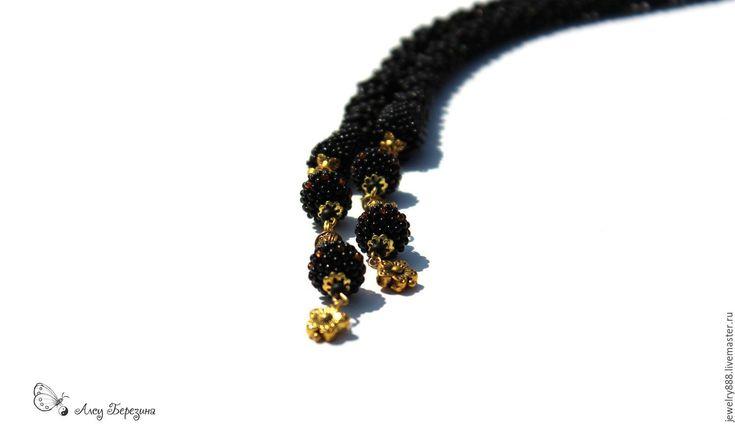 """Купить Лариат """"Роскошный черный"""", стильное украшение из бисера на каждый день - лариат, украшение трансформер"""
