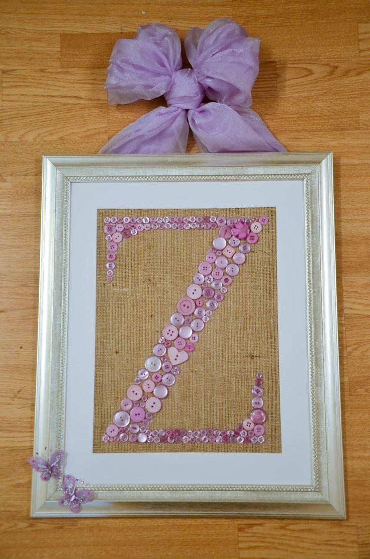 Framed Buttoned Letter For Little Girls Room Handmade Gift. Just stunning!