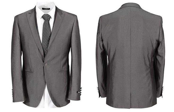Men Grey Latest Suits Wedding Groom 2pcs Slim Fit Tuxedo Jacket Dress Pants