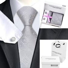 HN-628 Mens 100% Silk Neckties Tie+Hanky+Cufflinks+Gift Box+Bag Set Free Postage