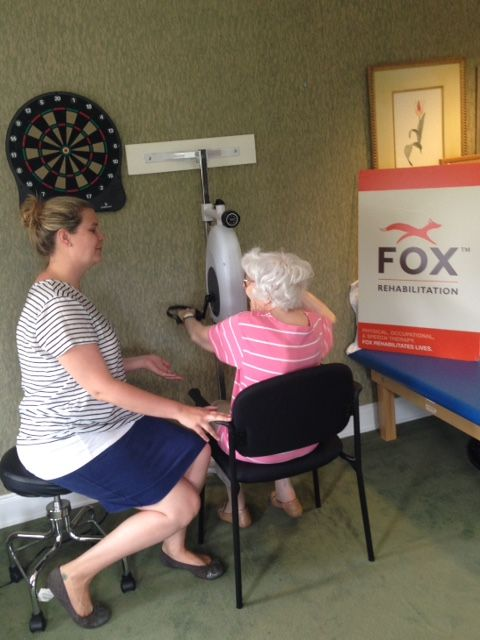 FOX client Evelyn Shannon working on her upper body strength and endurance with Stacey Farley, FOX OT at Atria Senior Living in Tinton Falls