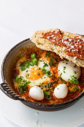 Eggs in purgatory is a popular Italian breakfast or brunch recipe of baked eggs in a fiery tomato sauce. Francesco Mazzei spices up his version with 'nduja sausage and serves with quail eggs and toasted sourdough.