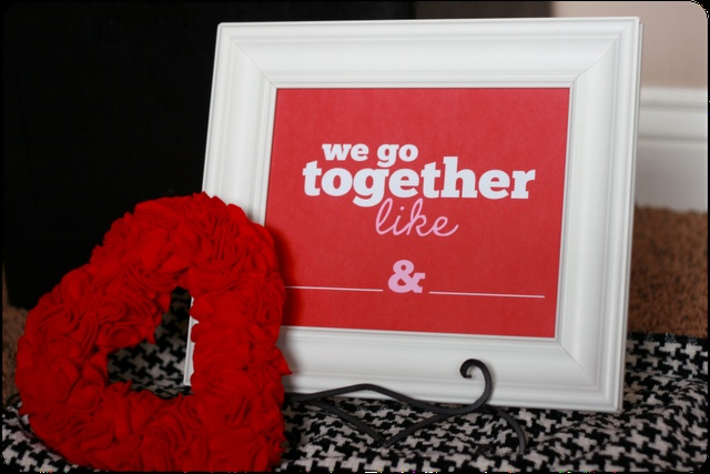 Free Printable!  We Go Together Like...{Dry-Erase Love Notes}