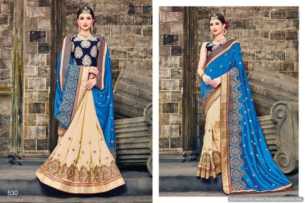 Georgette Embroidery Lace Border Saree With Heavy Emb. Blouse at ladyIndia.com