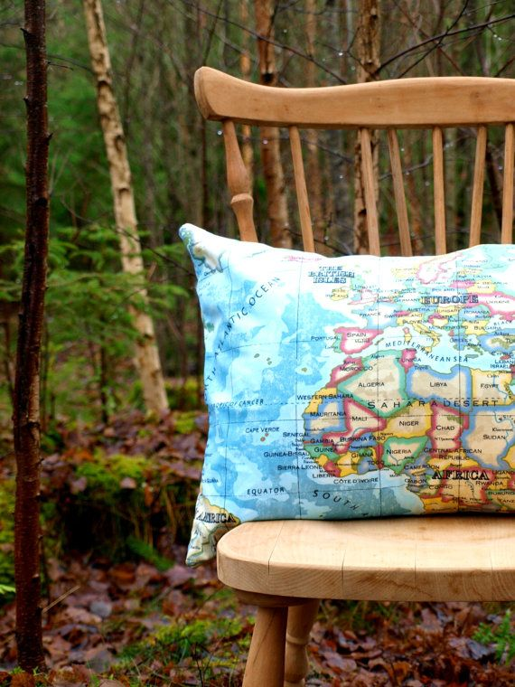 Pillow cover  Worldmap by travelingpillow on Etsy, $33.50