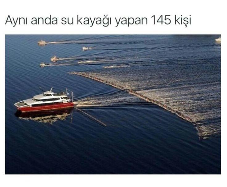 Aynı anda su kayağı yapan 145 kişi