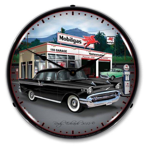 Antique Style 1957 Chevy Mobilgas Backlit Clock 129 99 Impala Wall Clock Light Garage Clock