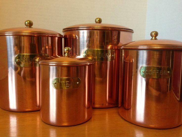Vintage solid copper kitchen canister set nib daewoo my for Kitchen set 4 x 3