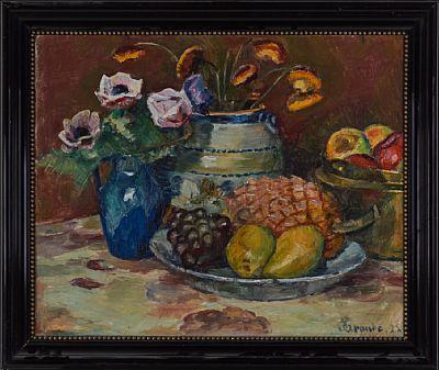 SEVERIN GRANDE VERDAL 1869 - KRISTIANIA 1934  Stilleben med frukt og blomster, 1925 Olje på lerret, 49x61 cm Signert og datert nede til høyre: S Grande 25
