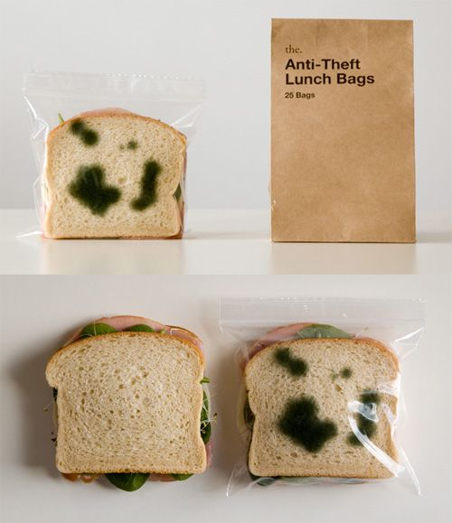 HAHAHA! This is hilarious Anti-Theft Lunch bags. No one will ever steal your food again. #cubicle #office #lunch bags