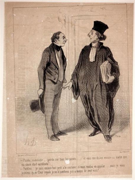 Honoré Daumier (1808-1879) Les Gens de justice. 1845-1848. Lithographie. Chaque env. [250 x 350]. Delteil 1337 à 1375. Suite complète des 37 planches en tirage du Charivari (sans les planches 26 et 39… - Audap-Mirabaud - 01/03/2017